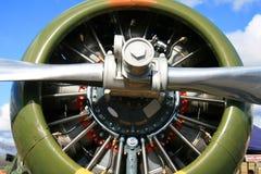 De motor van de ster op een oud oorlogsvliegtuig Stock Afbeeldingen
