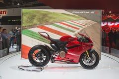 De motor van Ducatipanigale R bij EICMA 2014 in Milaan, Italië Royalty-vrije Stock Afbeelding