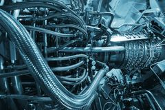 De motor van de gasturbine van de compressor van het voergas bepaalde de plaats binnen van onder druk gezette bijlage, de voor de royalty-vrije stock afbeelding