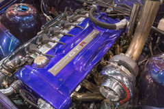 De motor van Nissan Skyline GT-r op vertoning Royalty-vrije Stock Fotografie