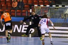 De Motor Zaporozhye van het handbalspel versus Kadetten Schaffhausen stock fotografie