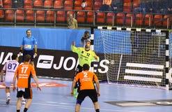 De Motor Zaporozhye van het handbalspel versus Kadetten Schaffhausen stock foto