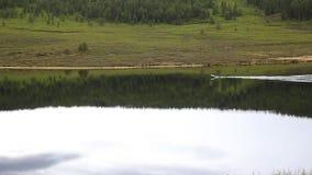 De motorboot drijft op een bergmeer die, die en in de bergen wandelen vissen stock footage