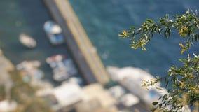 De motorboten legden bij dok van kleine kuststad vast, Griekse vlag die in wind golven stock video