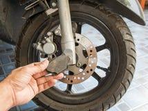 De motorfiets van schijfremmen, Oude schijfremmen, de Rem van de Beugelschijf Royalty-vrije Stock Afbeelding