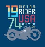 de motorfietsschrijver uit de klassieke oudheid van het typografieontwerp Royalty-vrije Stock Foto's
