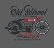 de motorfietsschrijver uit de klassieke oudheid van het typografieontwerp Stock Fotografie