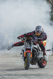 De motorfietsstunts, tonen in MTS Szczecin Royalty-vrije Stock Fotografie