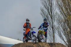 De motorfietsstunts, tonen in MTS Szczecin Stock Foto's