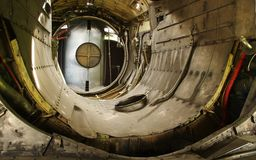 De motorkamer van het vechtersvliegtuig Stock Foto
