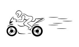 De motorrijder berijdt een motorfiets Stock Afbeeldingen