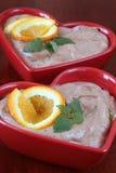 De mousse van de chocolade met sinaasappelen Stock Foto