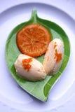 De mousse van de gestremde melk met mandarin jam Royalty-vrije Stock Foto
