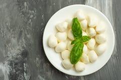 De mozarella met basilicum gaat - verse ingrediënten voor caprese salade met exemplaarruimte op donkere achtergrond, hoogste meni royalty-vrije stock afbeeldingen