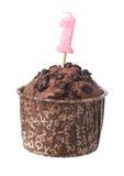 De muffin van de chocolade met verjaardagskaars Royalty-vrije Stock Foto