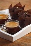 De muffins en de espresso van de chocolade Royalty-vrije Stock Afbeeldingen
