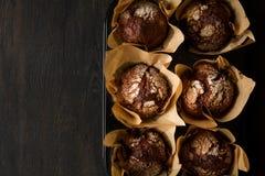 De muffins Selectieve nadruk van de chocoladebanaan Royalty-vrije Stock Foto's