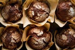 De muffins Selectieve nadruk van de chocoladebanaan Royalty-vrije Stock Afbeeldingen