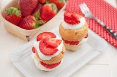 De Muffins van aardbeishortcake Stock Fotografie