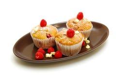 De muffins van de bes op geïsoleerde plaat Stock Fotografie