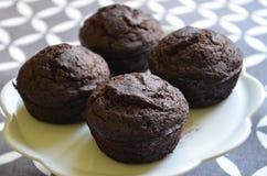 De muffins van de chocoladeschilfersbanaan Royalty-vrije Stock Fotografie
