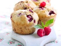 De muffins van frambozenzemelen Stock Afbeelding