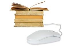 De muis en de boeken van de computer Stock Foto's