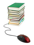De muis en de boeken van de computer Stock Afbeelding