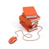 De muis en de boeken van de computer - e-lerend concept. Stock Foto