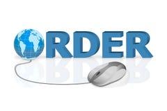 De muis klikt aan orde het online winkelen Stock Fotografie
