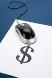 De muis van de computer en dollarteken Stock Foto