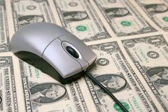 De muis van de computer op Geld Royalty-vrije Stock Foto
