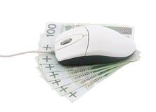 De muis van de computer op poetsmiddelgeld Stock Afbeelding