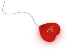 De muis van de computer in rode hartstijl Stock Afbeeldingen