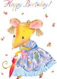 De muis van het beeldverhaal met paraplu en GIF Stock Afbeelding