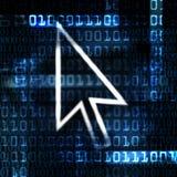 De muispijl van de computer en binaire code Royalty-vrije Stock Afbeelding