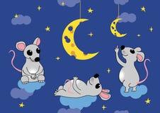 De muizen bewonderen de maan in de vorm van kaas Vector naadloze illustratie, eps 8 Stock Afbeelding