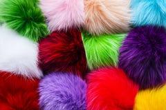 De multiachtergrond van kleuren pluizige ballen Royalty-vrije Stock Afbeeldingen