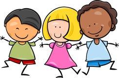 De multiculturele illustratie van het kinderenbeeldverhaal Stock Afbeeldingen