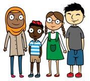 De multiculturele multiraciale kinderen van de beeldverhaalillustratie Royalty-vrije Illustratie