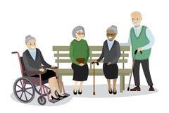 De multiculturele oude mensen zijn aanwezig op de bank, grootmoeder royalty-vrije illustratie