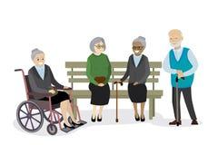 De multiculturele oude mensen zijn aanwezig op de bank, grootmoeder stock illustratie
