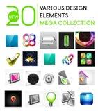 De multifunctionele megainzameling van ontwerpelementen Stock Foto
