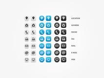 De multifunctionele Reeks van het Adreskaartjepictogram Stock Fotografie