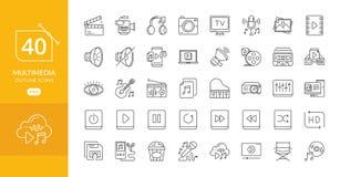 De multimedia brachten vectorlijnpictogrammen met elkaar in verband vector illustratie