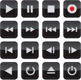 De multimedia controleren glanzende pictogramreeks Stock Foto's