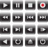 De multimedia controleren glanzende pictogramreeks Royalty-vrije Stock Fotografie