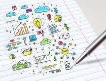 De multimedia van de potloodtekening en het concept van het bureaupersoneel vector illustratie