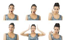De multiuitdrukkingen van de beeld echte jonge vrouw Stock Foto's