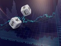 De munt dobbelen en Forex de grafiek Royalty-vrije Stock Afbeelding